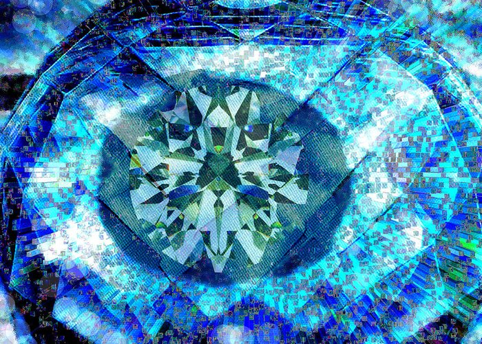 Abstract Greeting Card featuring the digital art Behold The Jeweled Eye by Seth Weaver
