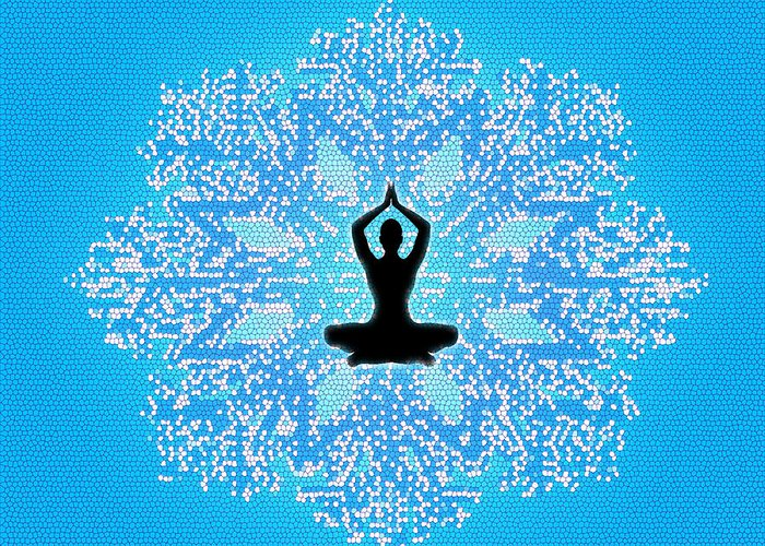 Meditation Art Peace Joy Happiness Love Flowering Postures Abstract Sensitivity Buddha Suffering World Wisdom Strength Understanding Compassion Life Water Knowing Yourself Passion Isolation God Temples Darkness Truth Destiny Faith Journey Relax Human Greeting Card featuring the digital art Being Ordinary by Ramneek Narang