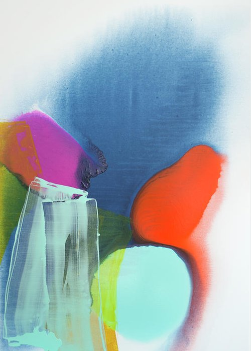 Abstract Greeting Card featuring the painting Being Sincere by Claire Desjardins