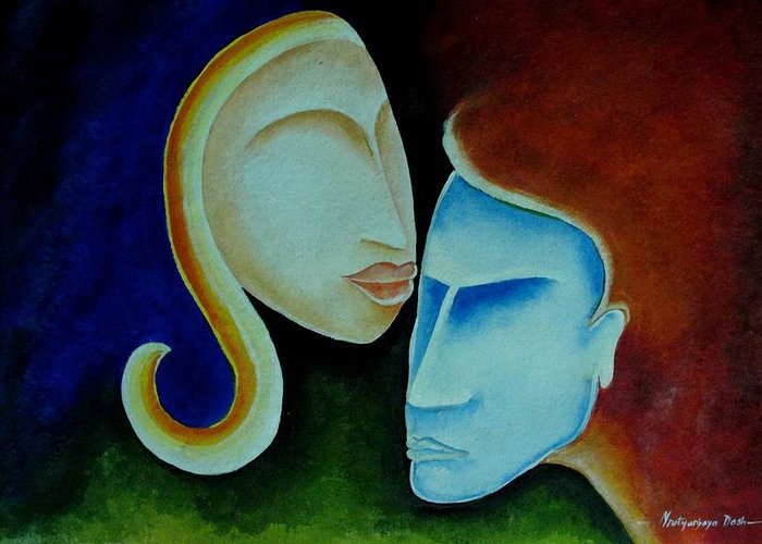 Love Greeting Card featuring the painting Being Together by Mrutyunjaya Dash