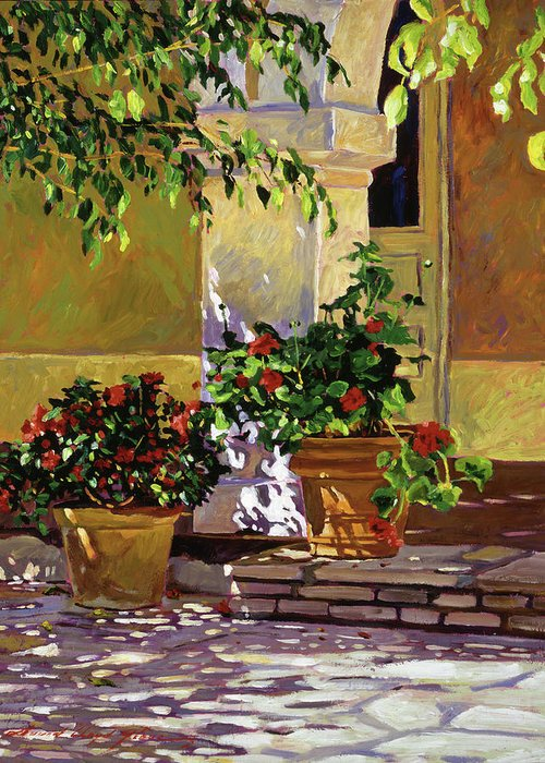 Bel-air Hotel Greeting Card featuring the painting Bel-air Patio Steps by David Lloyd Glover
