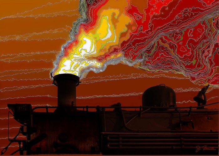 Steam Engine Greeting Card featuring the digital art Belching Fire by Joe Bonita