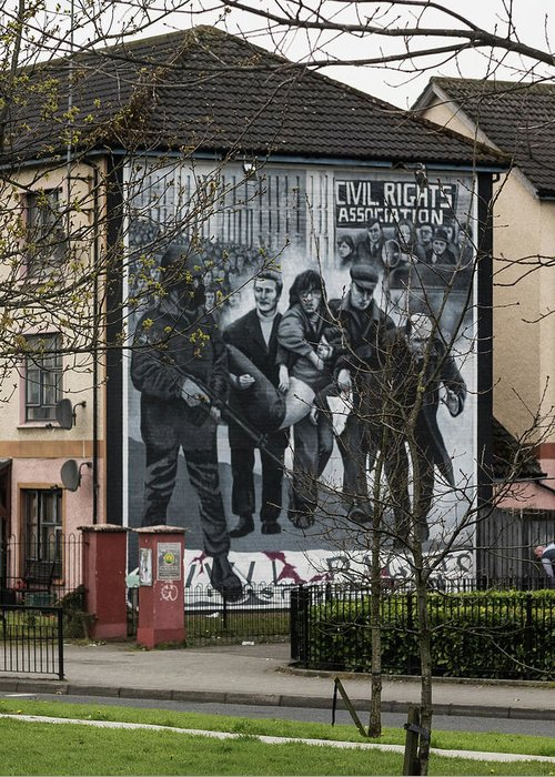 Belfast Greeting Card featuring the photograph Belfast Mural - Civil Rights Association - Ireland by Jon Berghoff