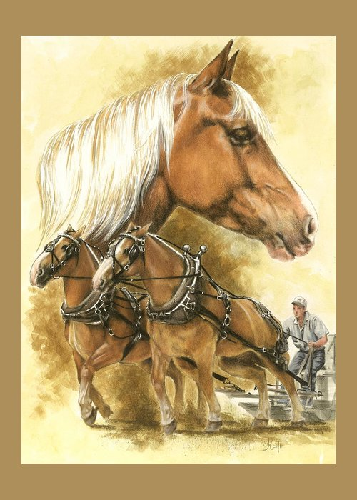 Equus Greeting Card featuring the mixed media Belgian by Barbara Keith