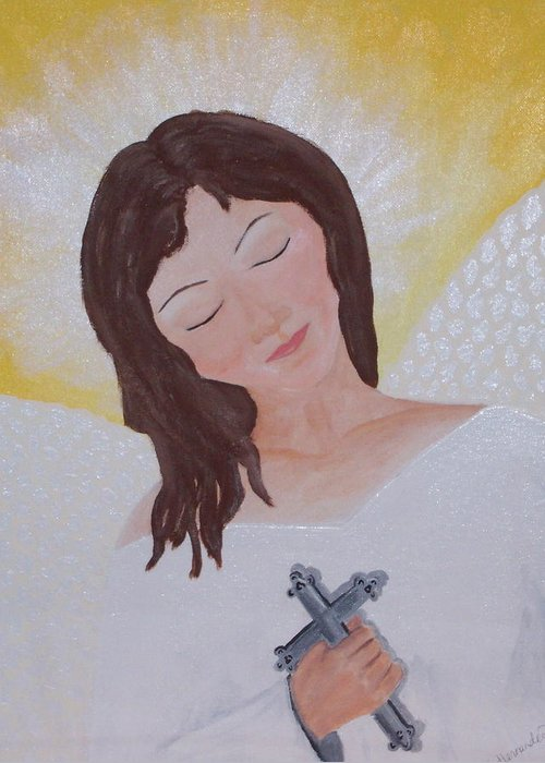 Angel Greeting Card featuring the painting Believe by Jennifer Hernandez