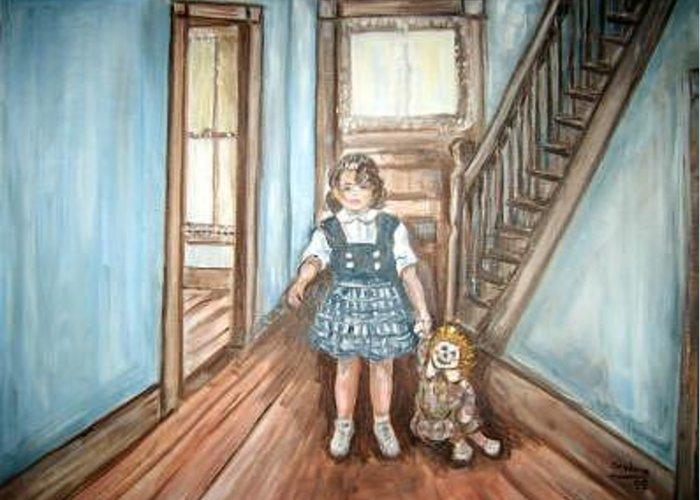 Hallway Greeting Card featuring the painting Belinda And Raggedy Ann by Joseph Sandora Jr