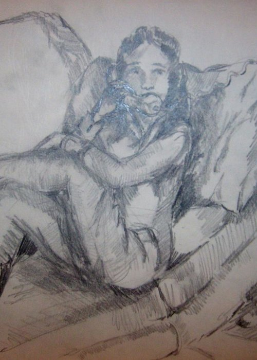 People Phone Wire Couch Room Greeting Card featuring the drawing Belinda On Phone by Joseph Sandora Jr