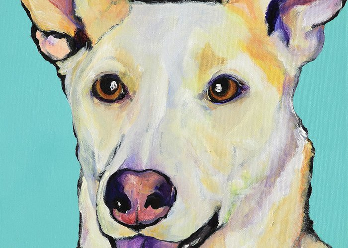 Dog Paintings Greeting Card featuring the painting Bella by Pat Saunders-White