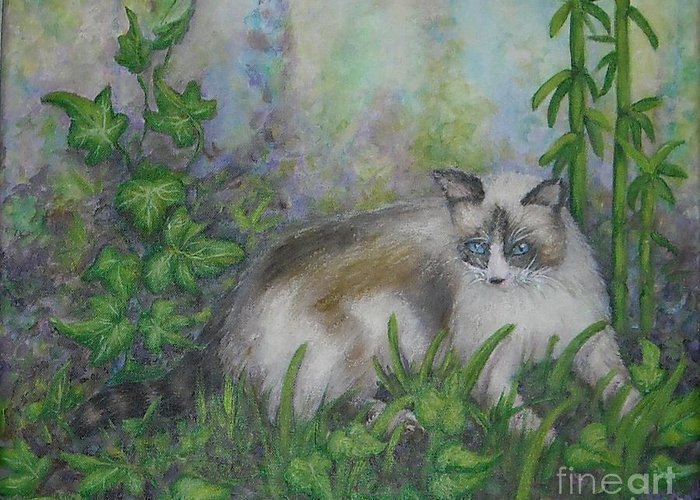 Bella Greeting Card featuring the painting Bella With Ivy And Bamboo by Sheri Hubbard