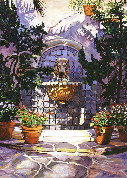 Fountains. Lions Head Fountains Greeting Card featuring the painting Bellagio Fountain by David Lloyd Glover