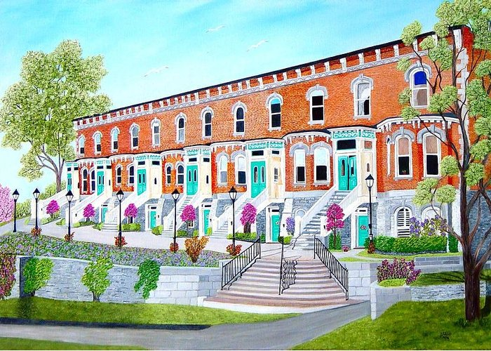 Belleville Ontario Buildings Painting Greeting Card featuring the painting Bellevue Terace circa 1876 by Peggy Holcroft