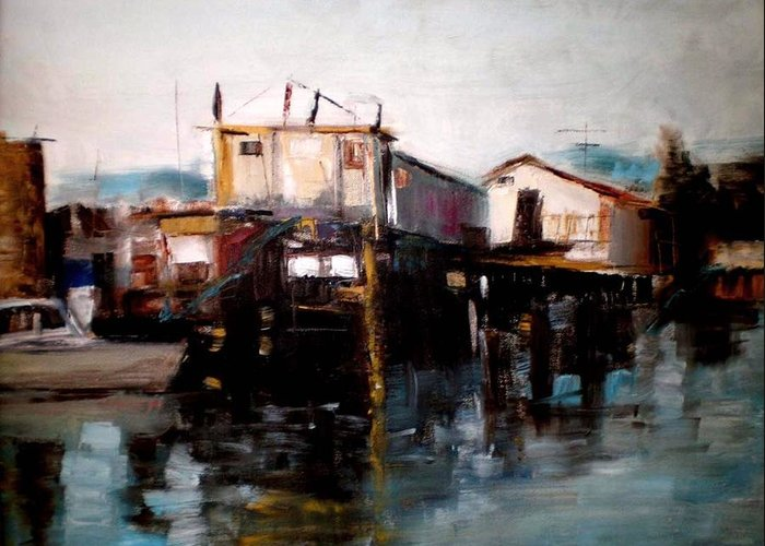 Water Greeting Card featuring the painting Bellingham Boats by Renee Rowe