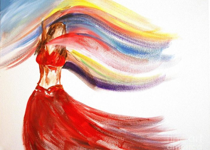 Belly Dancers Greeting Card featuring the painting Belly Dancer 2 by Julie Lueders