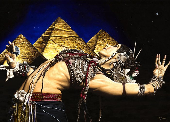 Bellydance Greeting Card featuring the painting Bellydance Of The Pyramids - Rachel Brice by Richard Young