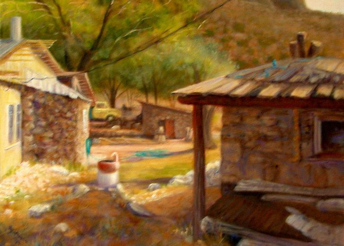 Realism Greeting Card featuring the painting Below Taos 1 by Donelli DiMaria