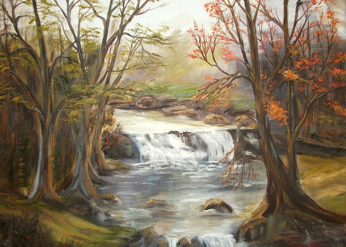 Landscape Greeting Card featuring the painting Below the falls by Kenneth LePoidevin