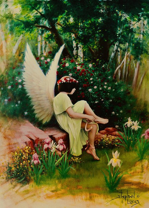 Angel Greeting Card featuring the painting Beltaine Angel by Stephen Lucas