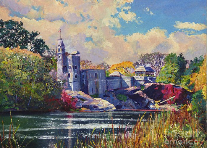 Landscape Greeting Card featuring the painting Belvedere Castle Central Park by David Lloyd Glover