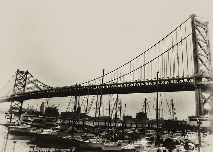 Philadelphia Greeting Card featuring the photograph Ben Franklin Bridge From The Marina In Black And White. by Bill Cannon