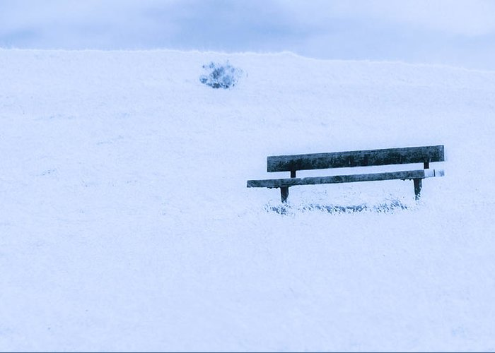 Snow Greeting Card featuring the photograph Bench In Snow by Josephine Buschman