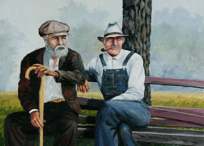 Bob Hallmark Greeting Card featuring the painting Bench Warmers by Bob Hallmark