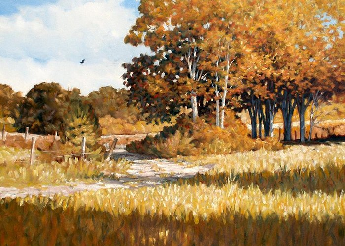 Landscape Greeting Card featuring the painting Bend In The Road by Kevin Lawrence Leveque