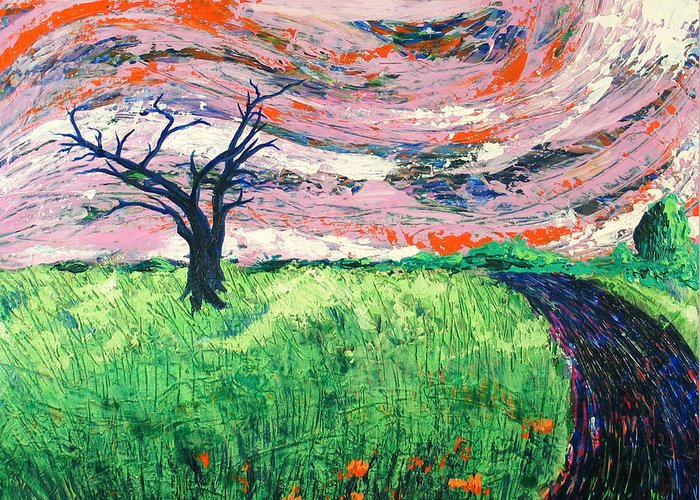 Landscape Greeting Card featuring the painting Bend by Rollin Kocsis