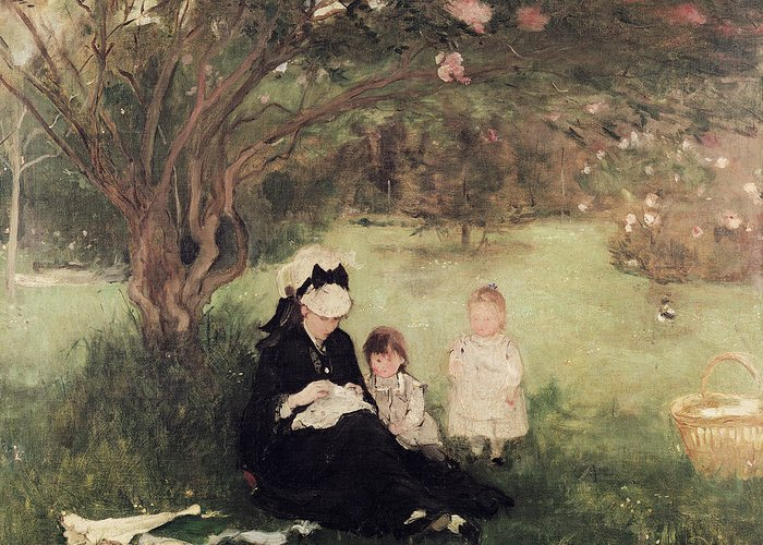 Beneath Greeting Card featuring the painting Beneath The Lilac At Maurecourt by Berthe Morisot