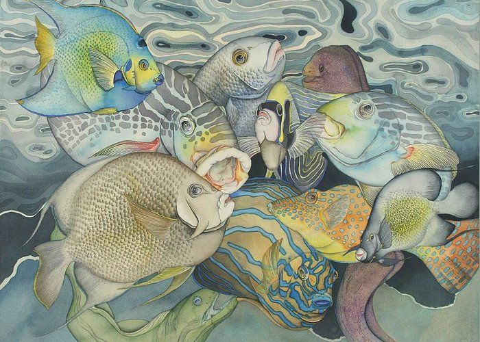 Sea Greeting Card featuring the painting Beneath The Surface by Liduine Bekman