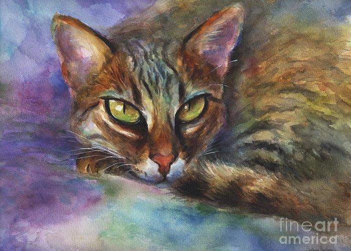 Bengal Cat Greeting Card featuring the painting Bengal Cat Watercolor Art Painting by Svetlana Novikova