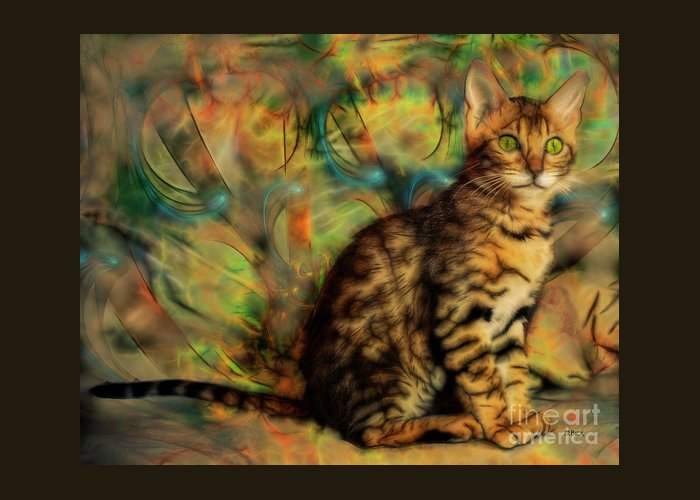 Bengal Kitten Greeting Card featuring the digital art Bengal Kitten by John Robert Beck