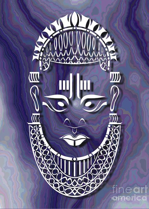 African Sculpture Greeting Card featuring the digital art Benin Queen Mother by Walter Oliver Neal