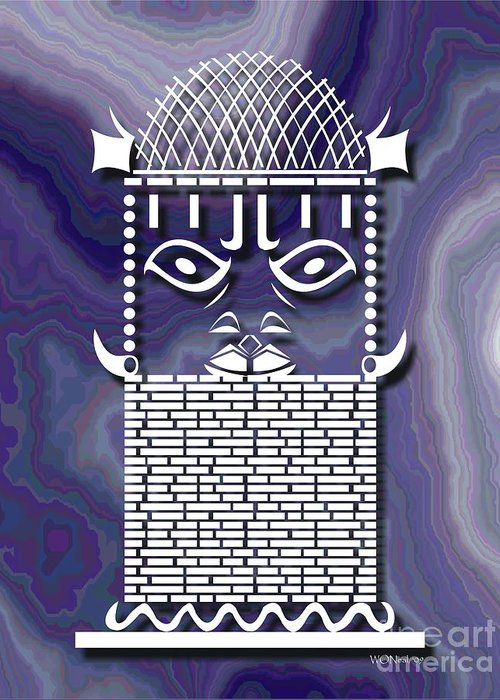 African Sculpture Greeting Card featuring the digital art Benin Warrior King by Walter Neal