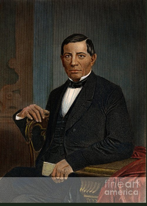 1870 Greeting Card featuring the photograph Benito Juarez (1806-1872) by Granger