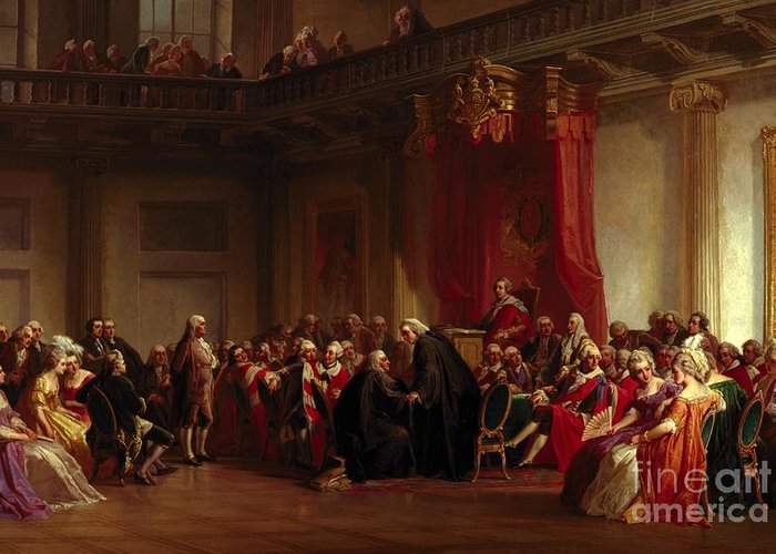 Interior Greeting Card featuring the painting Benjamin Franklin Appearing Before The Privy Council by Christian Schussele