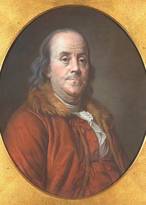 Author Greeting Card featuring the painting Benjamin Franklin by Jean Valade