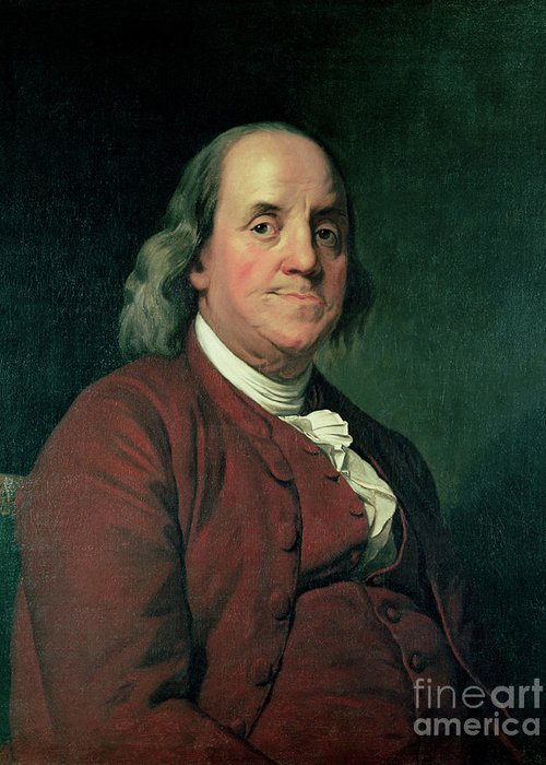 Benjamin Greeting Card featuring the painting Benjamin Franklin by Joseph Wright of Derby