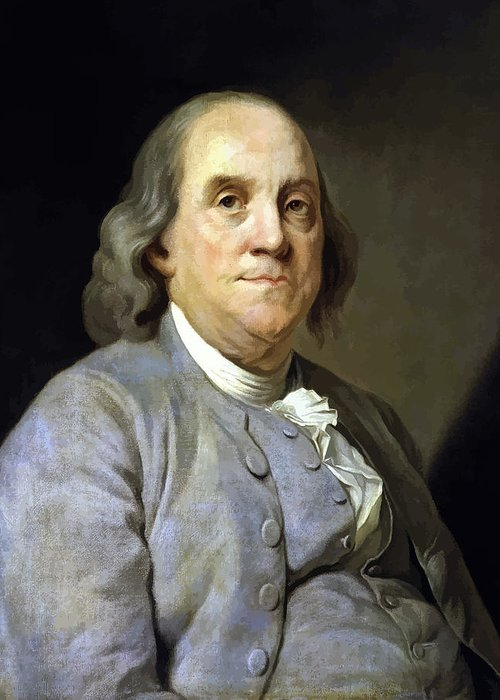 Benjamin Franklin Greeting Card featuring the painting Benjamin Franklin by War Is Hell Store