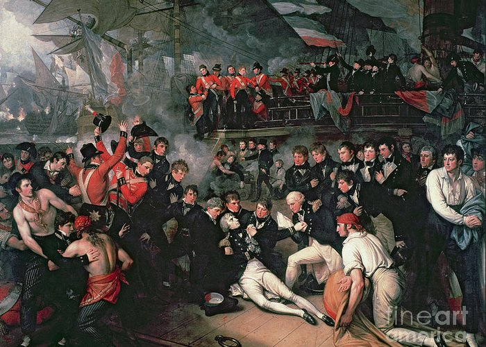 Male; Hero; War; On Board; Ship; Dying; Sickly; War; Hero; Napoleonic Wars; Lanterns; Crew; Concern; Naval; Battle Of Trafalgar; Victorious; War Greeting Card featuring the painting Benjamin West by The Death of Nelson