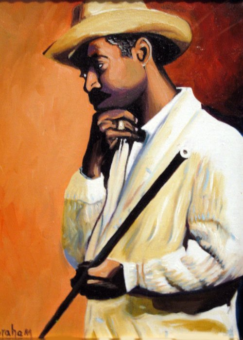 Cuban Art Greeting Card featuring the painting Benny 2 by Jose Manuel Abraham