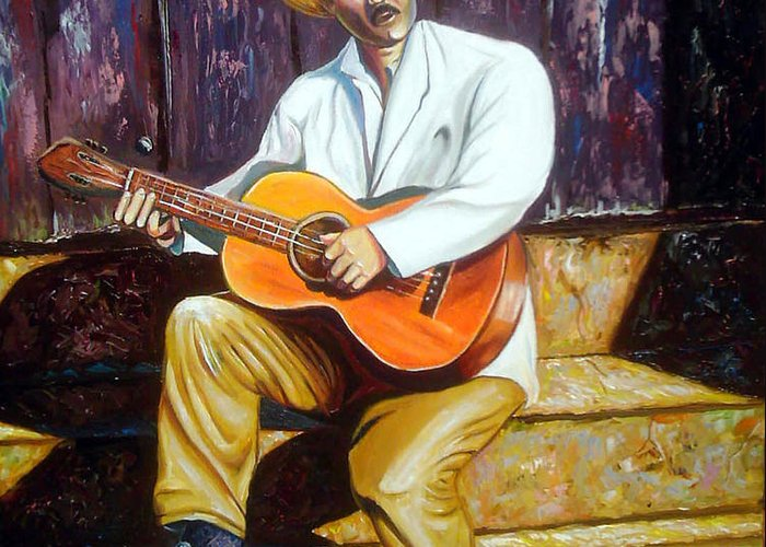 Cuban Art Greeting Card featuring the painting Benny by Jose Manuel Abraham