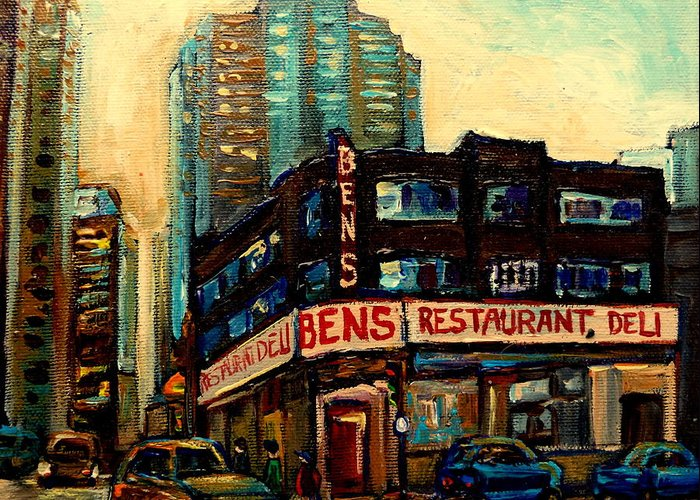Bens Restaurant Greeting Card featuring the painting Bens Restaurant Deli by Carole Spandau