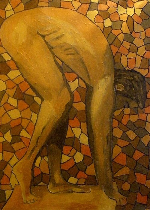 Nude Greeting Card featuring the painting Bent by Mats Eriksson