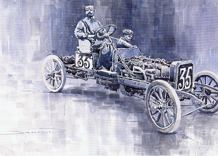 Watercolour Greeting Card featuring the painting Benz 60hp Targa Florio Rennwagen 1907 by Yuriy Shevchuk