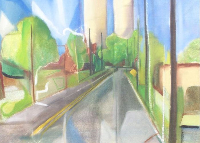 Painting Greeting Card featuring the painting Bergen Turnpike by Ron Erickson