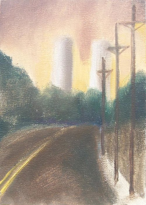 Landscape Greeting Card featuring the painting Bergen Turnpike Study by Ron Erickson