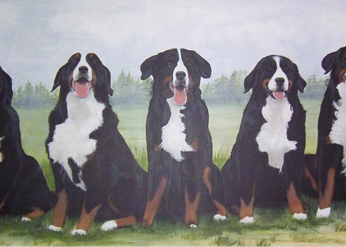 Pet Portrait Greeting Card featuring the painting Bernadettes Berners by Janice M Booth
