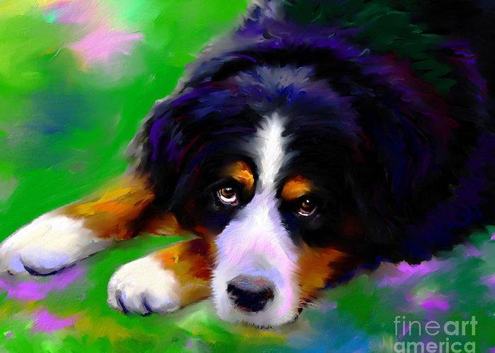 Bernese Mountain Dog Greeting Card featuring the painting Bernese Mountain Dog Portrait Print by Svetlana Novikova