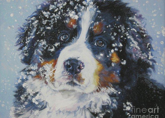 Bernese Mountain Dog Greeting Card featuring the painting Bernese Mountain Dog Puppy by Lee Ann Shepard