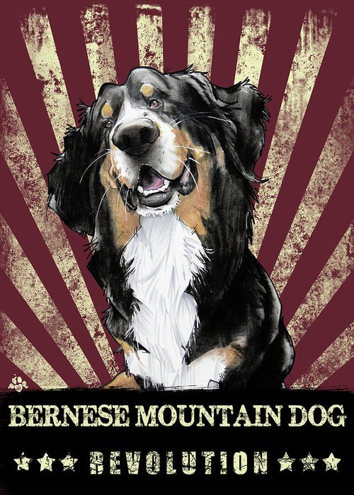 Bernese Mountain Dog Greeting Card featuring the drawing Bernese Mountain Dog Revolution by John LaFree